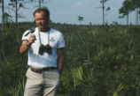 Glen Wolfinder and a Florida scrub jay