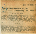 What Commissioner Mason says concerning Lee Gates