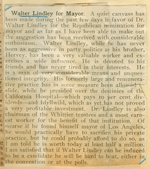 Walter Lindley for mayor