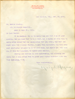 Letter from Dr. Ralph Hagan to Walter Lindley