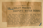 Dr. Lindley praises Harper's water board