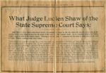 What Judge Lucien Shaw of the state supreme court says