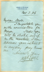 Letter from John J. Byrne to Walter Lindley