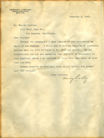 Letter from Hervey Lindley to Walter Lindley