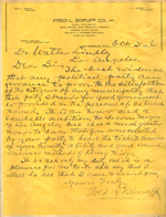 Letter from Fred L. Boruff to Walter Lindley