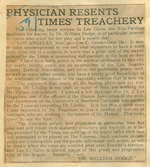 Physician resents Times' treachery