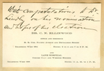 Calling card from Dr. C.N. Ellinwood