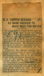 A.C. Harper resigns as bank cashier to make race for mayor