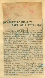 Banquet to Dr. J.W. Baer well attended