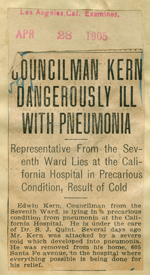 Councilman Kern dangerously ill with pneumonia