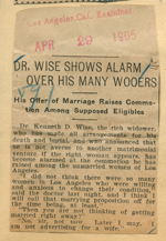 Dr. Wise shows alarm over his many wooers