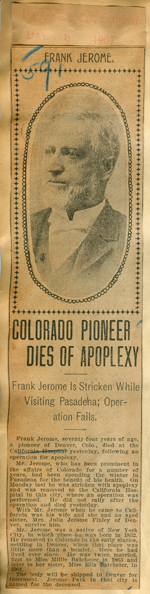 Colorado pioneer dies of apoplexy