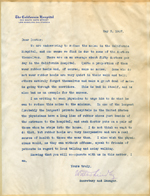 Form letter from Walter Lindley to doctors at California Hospital
