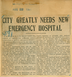 City greatly needs emergency hospital