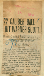 22 caliber ball hit Warner Scott