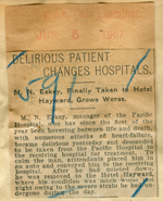 Delirious patient changes hospitals