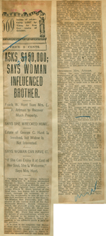 Asks $150,000, says woman influenced brother