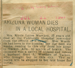 Arizona woman dies in a local hospital