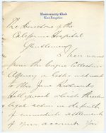 Letter from William Richards to the directors of California Hospital