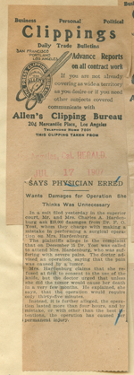 Says physician erred