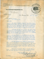 Letter from the American Multigraph Company to Walter Lindley