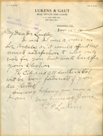 Letter from T. P. Lukens to Walter Lindley