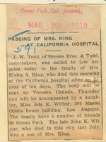 Passing of Mrs. King at California Hospital