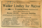 Headquarters of the Walter Lindley for Mayor Committees