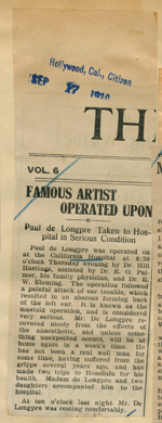 Famous artist operated upon