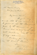 Letter from Albert W. Moore to Walter Lindley