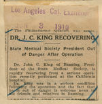 Dr. J. C. King recovering