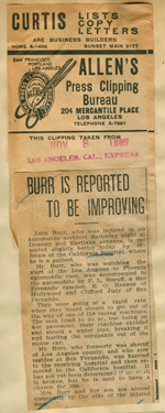 Burr is reported to be improving
