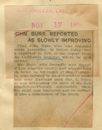 John Burr reported as slowly improving