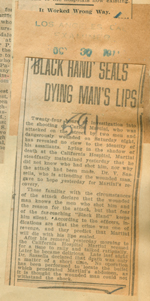 Black Hand seals dying man's lips