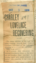 Charley Lovelace recovering