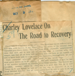 Charley Lovelace on the road to recovery