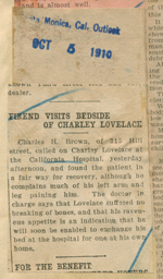 Friend visits bedside of Charley Lovelace