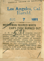Motorman injured when car's fuse burned out