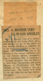 Mrs. A. Mooser very ill in Los Angeles