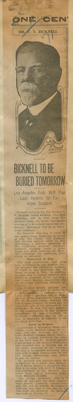 Bicknell to be buried tomorrow