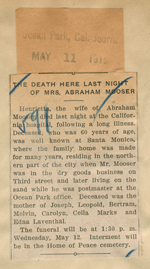 The death here last night of Mrs. Abraham Mooser