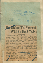 Dr. Bicknell's  funeral will be held today