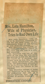 Mrs. Lola Hamilton, wife of physician, tries to end own life
