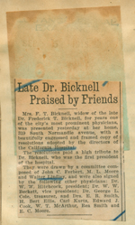 Late Dr. Bicknell praised by friends