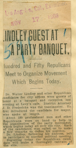 Lindley guest at a party banquet