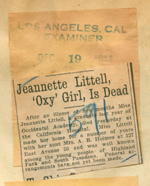 Jeannette Littell, Oxy girl, is dead