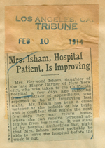 Mrs. Isham, hospital patient, is improving