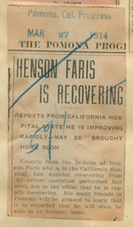 Henson Faris is recovering