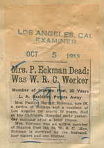 Mrs. P. Eckman dead, was W. R. C. worker