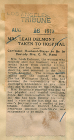 Mrs. Leah Delmont taken to hospital